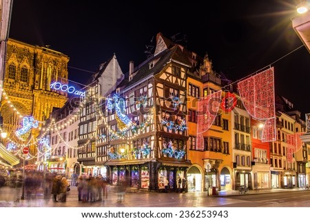 Buildings near the Cathedral in Strasbourg before Christmas - stock photo