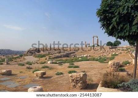 Buildings of Amman Citadel hill in national historic site in Jordan - stock photo