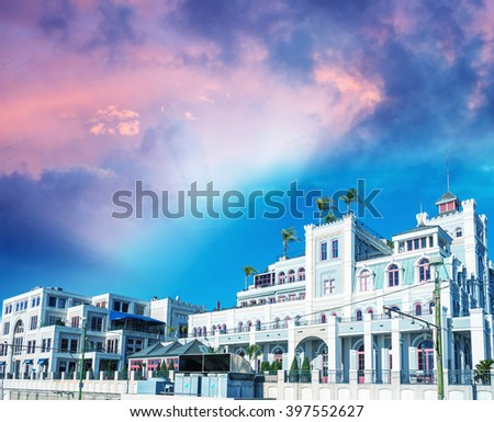 Buildings of New Orleans at sunset, Louisiana - USA. - stock photo