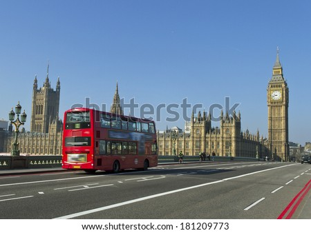 Buildings of Parliament with Big Ban tower in London. - stock photo