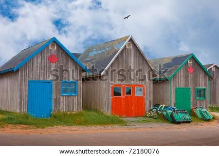 Buildings on Fishing Docks - stock photo