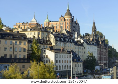 Buildings on Mariaberget, Sodermalm, Stockholm - stock photo
