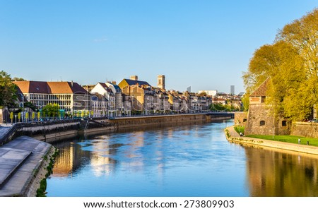 Buildings on the embankment in Besancon - France - stock photo