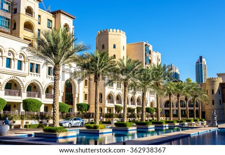 Buildings on the Old Town Island in Dubai - stock photo