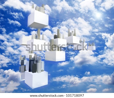 Buildings on white flying box in the cloudy sky, Future sky city - stock photo