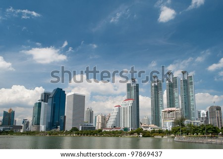 buildings view from the park - stock photo