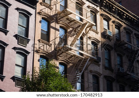 buildings with stairs in New York City - stock photo