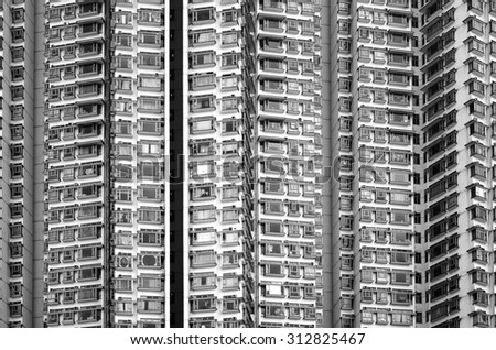 buildings zoom in black and white - stock photo