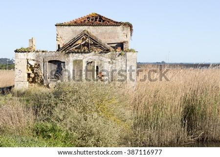 Built in stone water mill ruin - stock photo