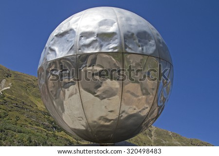 Built in 1989, the Piccard Memorial recalls the emergency landing of Professor Auguste Piccard on 27 May 1931 at the Gurgl glacier - stock photo
