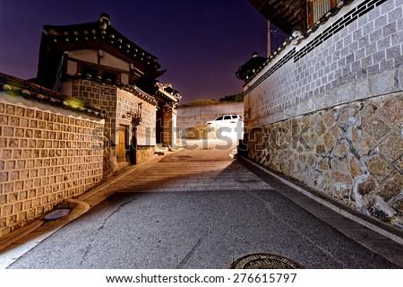 Bukchon Hanok historic district in Seoul at night, South Korea. - stock photo