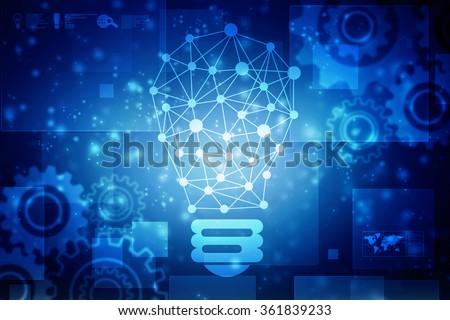 bulb future technology, innovation background, creative idea concept - stock photo