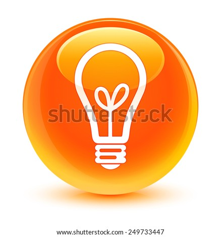 Bulb icon glassy orange button - stock photo