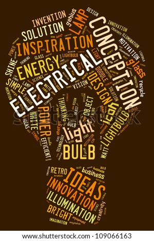 Bulb info-text graphics composed in bulb shape concept on chocolate background - stock photo