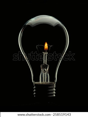 Bulb lamp with candle inside.Saving energy concept. - stock photo