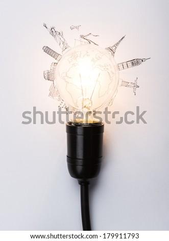 Bulb of World travel (Japan,France,Italy ,New York,India,egypt) - stock photo