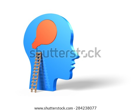 Bulb shape puzzle on head with wood ladder, change mind concepts - stock photo