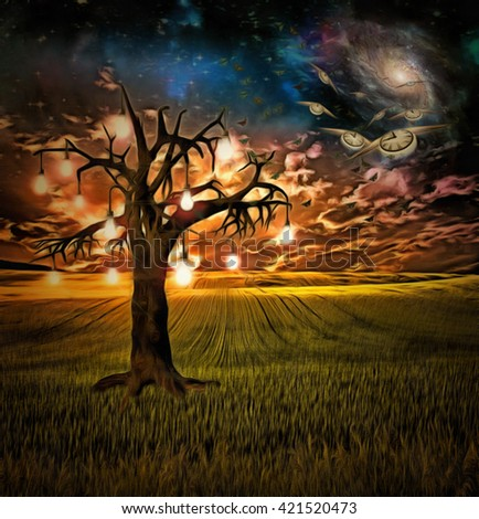 Bulb tree of ideas with surreal space background 3D Render - stock photo