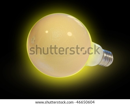 Bulb with an alternative energy source - stock photo