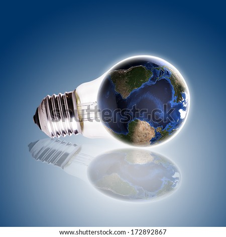Bulb with globe blue gradient background,Earth Map and Globe shape courtesy of NASA. - stock photo