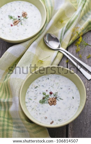 Bulgarian cold soup, Tarator on the table - stock photo
