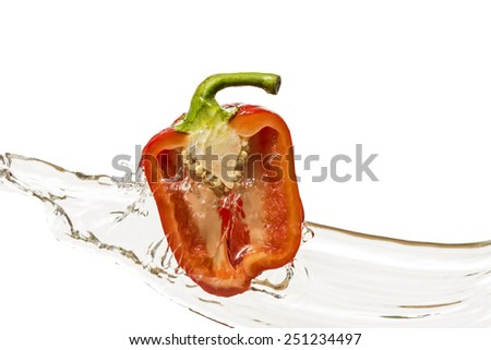 Bulgarian pepper in a cut with water - stock photo