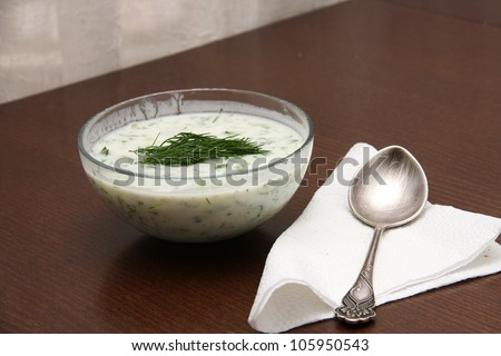 "Bulgarian traditional yogurt cold soup ""Tarator"" with silver spoon - stock photo"