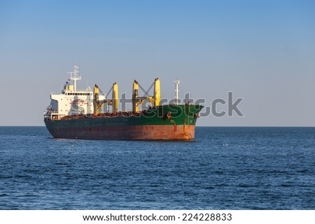 Bulk carrier. Big cargo ship sails on the Sea - stock photo