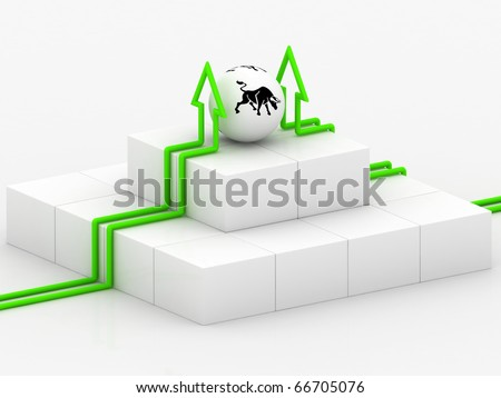 Bull and Arrow show the high profit - stock photo