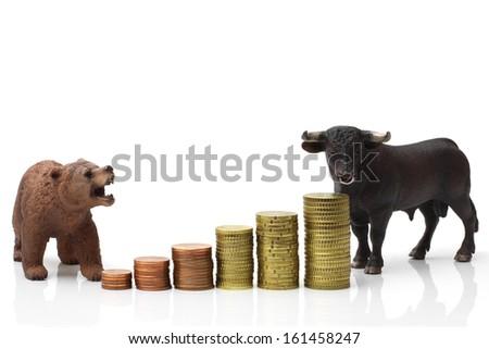 Bull and bear market - stock photo