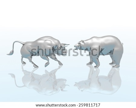Bull and Bear with reflection on icy background. - stock photo
