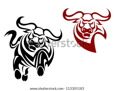 Bull and buffalo mascots isolated on white background, such a logo template. Vector version also available in gallery - stock photo