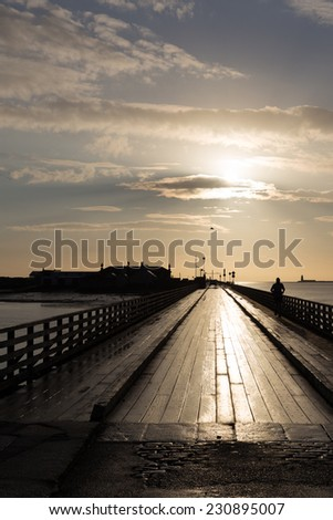 Bull Bridge at Dollymount photographed early morning - stock photo