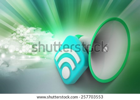Bull horn with rss sign - stock photo