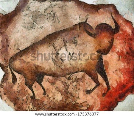 bull like primeval cave paintings - stock photo