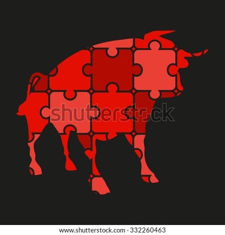 bull logo of puzzles - stock photo