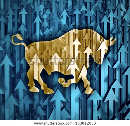 Bull market business concept with a group of organized arrows going up as investor confidence in stock trading predicting future price increases as a financial symbol of profits. - stock photo