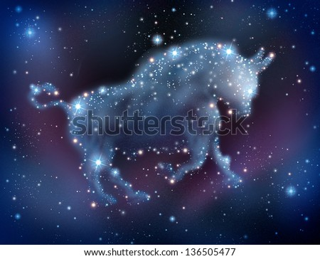 Bull market predictions concept in analyzing stock prices to predict a positive sentiment for the investing community with a night sky constellation of stars shaped as a symbol of profitable trading. - stock photo