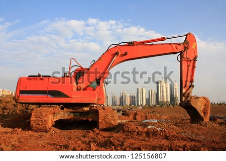 Bulldozer at a construction site - stock photo