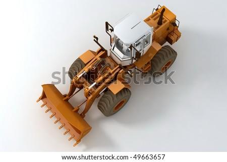 Bulldozer on wheels on light background. Top view - stock photo