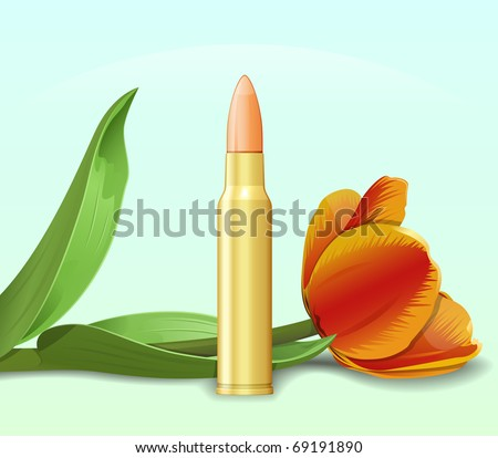 Bullet and flower. Allegoric war and peace  illustration. Raster version of vector illustration (id: 64188706) - stock photo