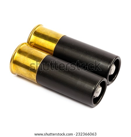 Bullet cartridges for a shotgun - stock photo