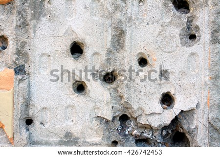 bullet holes in a residential building of Donetsk - stock photo