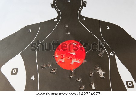 bullet holes in the target - stock photo