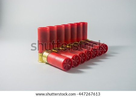 Bullet shell of shotgun - stock photo