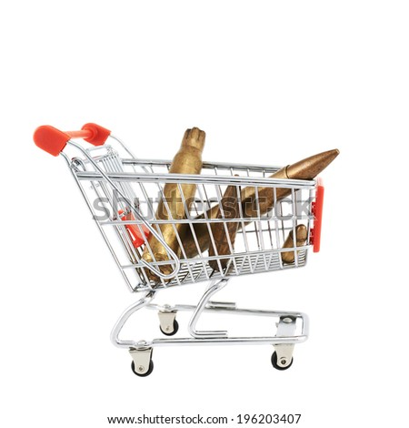 Bullets ammunition in a shopping cart isolated over the white background - stock photo