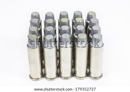bullets for 38 revolver hand gun  on white background. - stock photo