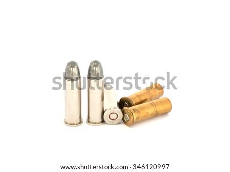 bullets for .38 revolver handgun on white background; bullet train - stock photo