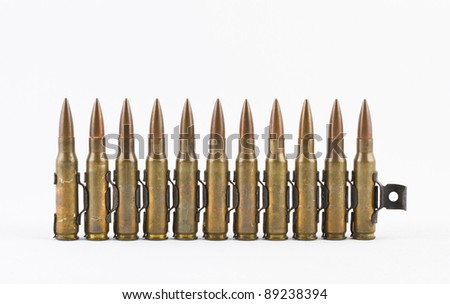 Bullets in a row. - stock photo