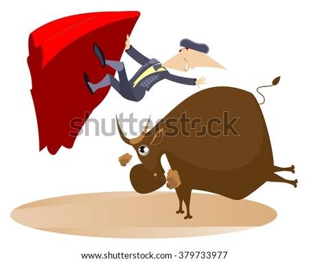 Bullfight. Bull raised the bullfighter by horns  - stock photo
